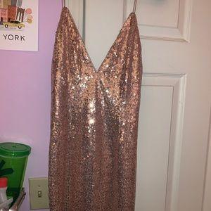 Tobi Rose Gold Alina Plunging Sequin Bodycon Dress